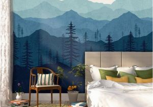 Relaxing Wall Murals Blue Ombré Mountain Mural Wallpaper
