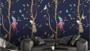 Removable 3d Wall Murals 3d Cartoons Tree Parrot Wallpaper Removable Self Adhesive