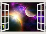 Removable 3d Wall Murals Peel & Stick Wall Murals Outer Space Galaxy Planet 3d Wall Srickers for Living Room Window View Removable Wallpaper Decals Home Decor Art 32×48 Inches