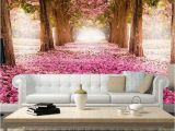 Removable 3d Wall Murals Trees Removable Wallpaper Pink Cherry Blossom Trees