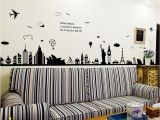 Removable Wall Mural Decals City Silhouette Removable Wall Sticker Room Mural Decal Home