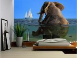 Removable Wall Mural Self Adhesive Large Wallpaper Wall26 the Elephant is Sitting In the Water Removable