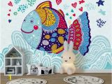 Removable Wall Murals for Kids Kids Wallpaper Cartoon Fish Wall Mural Abstract Fish Drawing Wall Art Childroom Baby Room