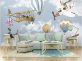 Removable Wall Murals Kids Airplane and Baloon Wallpaper Kids Room Cartoon Wall Mural
