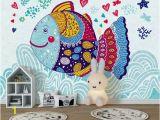 Removable Wall Murals Kids Kids Wallpaper Cartoon Fish Wall Mural Abstract Fish Drawing Wall Art Childroom Baby Room