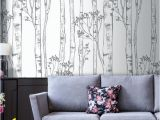 Removable Wall Murals Nature Wild Woods Wallpaper Birch Tree White Nature Fice Decor Nursery Woodland