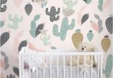 Repositionable Wall Murals Cactus Pastel Wall Mural Self Adhesive Fabric Wallpaper
