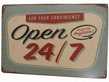 Retro Diner Wall Murals Open 24 7 Funny Tin Sign Bar Pub Garage Diner Cafe Home Wall