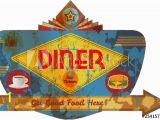 Retro Diner Wall Murals Route 66 Wall Art Metal Signs Posters Prints and
