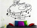 Reusable Vinyl Wall Murals Amazon Na Giant Wall Decals Music I Love Art Design