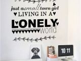Reusable Vinyl Wall Murals town Girl Lonely Quotes Wall Art Vinyl Decal Home Room Decor