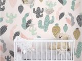 Reusable Wall Murals Cactus Pastel Wall Mural Self Adhesive Fabric Wallpaper
