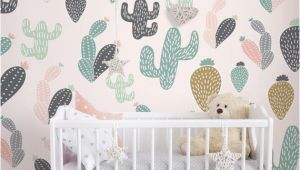 Reusable Wall Murals Cactus Pastel Wall Mural Self Adhesive Fabric Wallpaper