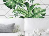 Reusable Wall Murals Living Room Decoration with Patternand Leaves Wallpapered Wall with
