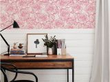 Reusable Wall Murals Pink Roses Wallpaper Sketch Doodle Style Vintage Wall Mural