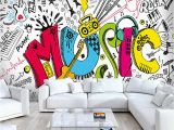 Rock Band Wall Murals Custom 3d Abstract Rock Musical Graffiti Mural Cafe Restaurant