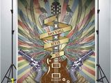 Rock N Roll Wall Mural Lucksty Rock and Roll Guitar Backdrops for Graphy