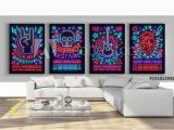 Rock N Roll Wall Mural Rock Festival Set Posters In Neon Style Collection Neon