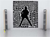Rock N Roll Wall Murals Rock Star Decal Word Cloud Decor Guitar Decorations Rock