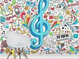 Rock Star Wall Murals Music G Clef Groovy Doodles Vector Illustration Set