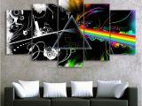 Rock Star Wall Murals Pink Floyd Music Band Canvas Hd Wall Decor 5pc Framed Oil