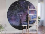 Rocket Ship Wall Mural Buy Watercolour Painting northern Lights Space & Trees Wall