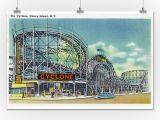 Roller Coaster Wall Mural Amazon Coney island New York View Of the Cyclone