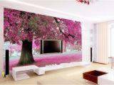 Romantic Bedroom Wall Murals 3d Wallpaper Bedroom Mural Roll Romantic Purple Tree Wall