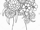 Rose Bouquet Coloring Pages Vector Bouquet Of Flowers In A Vase