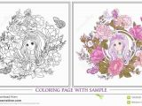 Rose Coloring Pages for Girls Young Nice Girl with Long Hear In Unicorn Horn Hat the
