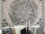Rose Metal Wall Mural athorbot Bohemian Tapestry Wall Hanging Hippie Mandala Tapestry White Floral Wall Art Collage Dorm Home Decor Beach 80 X 60 Inch