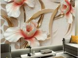 Roses and Sparkles Wall Mural 3d Relief Design Lily Flowers Wallpaper Custom Mural
