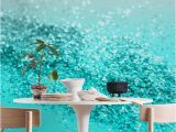 Roses and Sparkles Wall Mural Aqua Teal Ocean Glitter 1 Wall Mural Wallpaper Abstract In