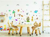 Safari Wall Murals for Nursery Amazon forest Animals Wall Stickers and Decals for Boys and