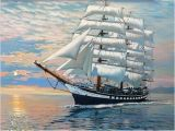 Sailing Ship Wall Murals 2019 Frameless Boat Seascape Diy Digital Painting by Numbers Home Wall Art Decor Modern Canvas Painting for Unique Gift 40x50cm From Bright689 $40 42