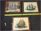 Sailing Ship Wall Murals Vtg New Bedford Whaler 1842 Old Ironside 1797 Nautical