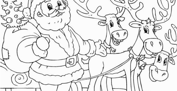 Santa Claus and His Reindeer Coloring Pages Printable Santa and Reindeer Coloring Page Christmas Coloring