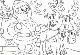 Santa Claus with Reindeer Coloring Pages Printable Santa and Reindeer Coloring Page Christmas Coloring