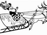 Santa Sleigh and Reindeer Coloring Page Printable Christmas Coloring Page Santa with Sleigh and