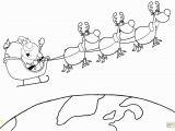 Santa Sleigh and Reindeer Coloring Page Team Of Reindeer and Santa In His Sleigh Flying the