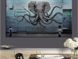 Scarface Mural Mural Of A Hybrid Elephant Octopus Creature Painting Print On Canvas