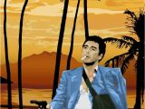 Scarface Mural Scarface tony Montana Pointing A Gun at Frank Lopez after the