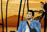 Scarface Sunset Wall Mural Scarface tony Montana Pointing A Gun at Frank Lopez after the