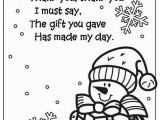 School Age Coloring Pages Snowman Coloring Page Thank You Poem
