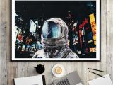 Sci Fi Wall Murals Hd Print 1pc Sci Fi astronaut Night City Canvas Painting