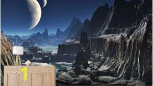 Sci Fi Wall Murals Moonlit Alien Valley Canyon Wallpaper Mural Wallpaper Wall