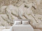 Sculptured Wall Mural Custom Any Size Mural Wallpaper 3d Embossed White Horse Wallpaper