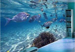 Sea Life Murals Photo Wall Mural 3d Wallpaper Cartoon Creative Submarine World Marine Life