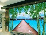 Sea Life Murals Photo Wall Mural Custom 3d Room Wallpaper Mural Wooden Bridge Bamboo Sea Picture Mural Modern Art Creative Living Room Hotel Study Backdrop Wallpaper Download