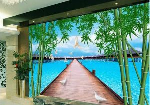 Sea Life Murals Photo Wall Mural Custom 3d Room Wallpaper Mural Wooden Bridge Bamboo Sea Picture Mural Modern Art Creative Living Room Hotel Study Backdrop Wallpaper Download